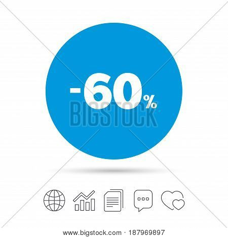 60 percent discount sign icon. Sale symbol. Special offer label. Copy files, chat speech bubble and chart web icons. Vector