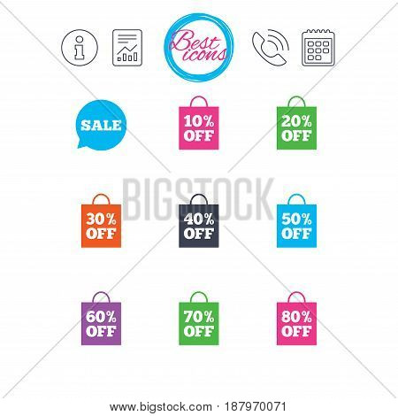 Information, report and calendar signs. Sale discounts icons. Special offer signs. Shopping bag, price tag symbols. Classic simple flat web icons. Vector