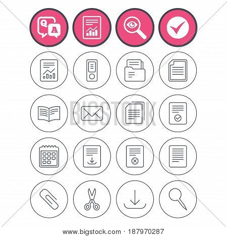 Question and answer, check tick and report signs. Documents linear icons. Accounting, book and calendar symbols. Paper clip, scissors and download arrow thin outline signs. Vector