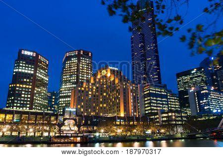 Melbourne Cityscape Illuminated At Night