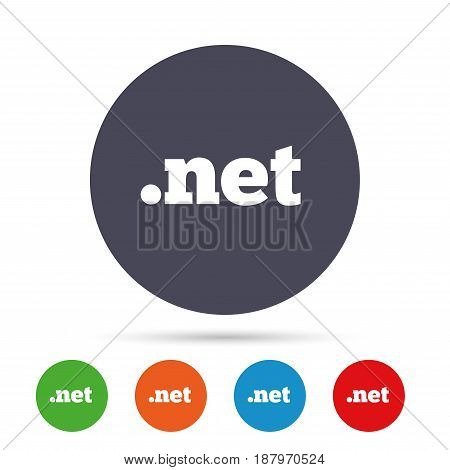Domain NET sign icon. Top-level internet domain symbol. Round colourful buttons with flat icons. Vector