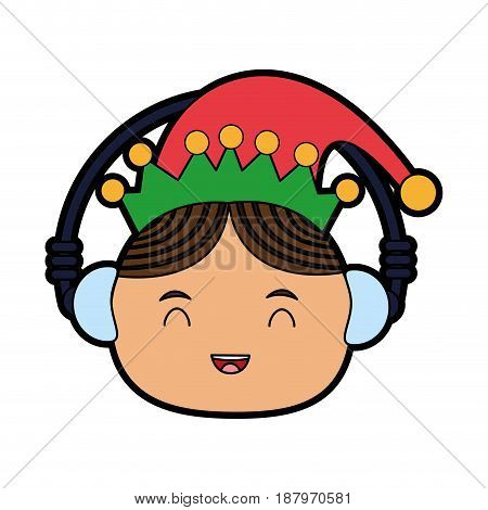 elf or santas helper wearing ear muffs christmas character icon image vector illustration design
