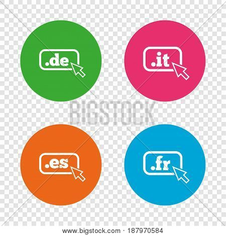 Top-level internet domain icons. De, It, Es and Fr symbols with cursor pointer. Unique national DNS names. Round buttons on transparent background. Vector