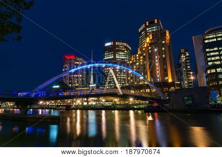 Melbourne River View With Pedestrian Bridge At Night