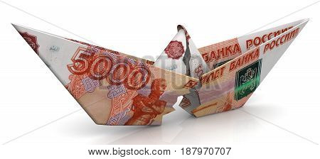 The crisis of the Russian economy. Concept. Torn paper boat made from an Russian banknote (ruble) on a white surface. Isolated. 3D Illustration