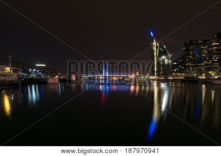 Docklands Melbourne neighborhood at night. Melbourne, Australia