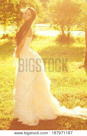 tender romantic portrait of young beautiful bride in white dress posing in sunlight at nature. warm colors