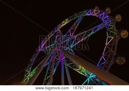 Melbourne Australia - April 20 2017: Colorful illuminated Melbourne Star Melbourne Eye observation wheel at night