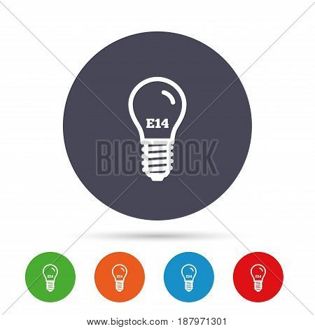 Light bulb icon. Lamp E14 screw socket symbol. Led light sign. Round colourful buttons with flat icons. Vector
