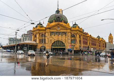 Flinders Street Station Intersection On Rainy Weather