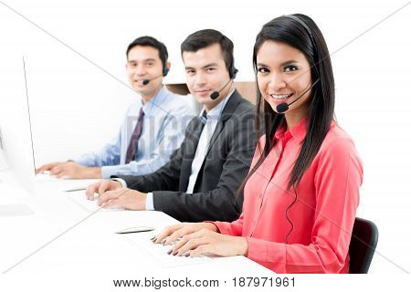 Call center (or telemarketer) staffs in the office