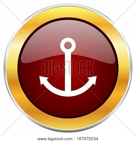 Anchor red web icon with golden border isolated on white background. Round glossy button.