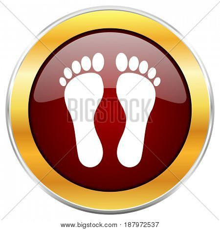 Foot red web icon with golden border isolated on white background. Round glossy button.