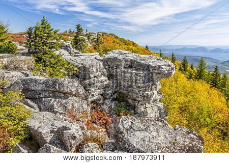 Colorful fall foliage adorns Bear Rocks at the Dolly Sods Wilderness in the Allegheny Mountains of West Virginia.