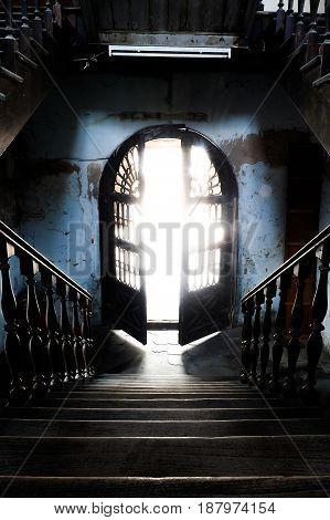 old separate stairs Bang Rak Fire Station bangkok thailand