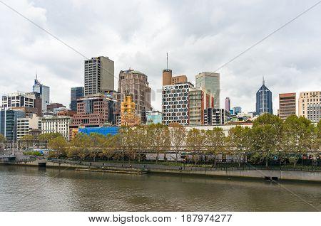 Melbourne City Center Cityscape On Overcast Day