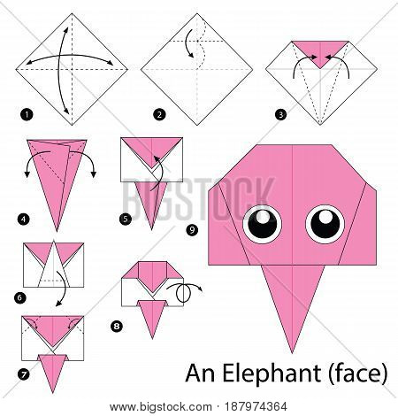 step by step instructions how to make an origami A Elephant