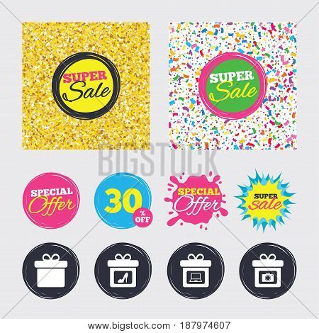 Gold glitter and confetti backgrounds. Covers, posters and flyers design. Gift box sign icons. Present with bow symbols. Photo camera sign. Woman shoes. Sale banners. Special offer splash. Vector