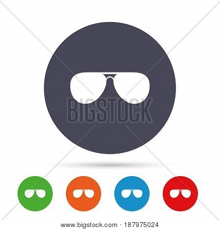 Aviator sunglasses sign icon. Pilot glasses button. Round colourful buttons with flat icons. Vector