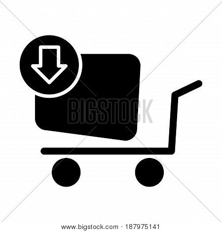 Shopping cart vector icon. To buy online, black and white illustration. Solid linear shopping icon. eps 10