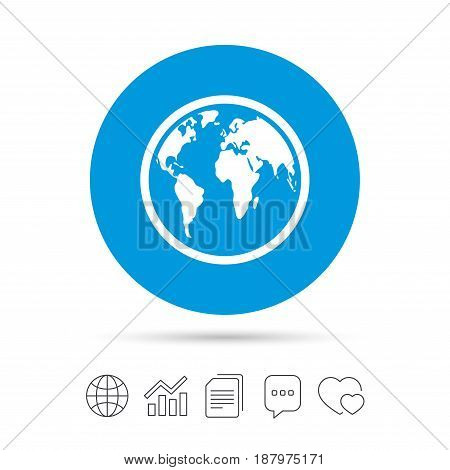 Globe sign icon. World map geography symbol. Copy files, chat speech bubble and chart web icons. Vector