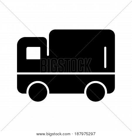 delivery truck vector icon. Black and white track illustration. Solid linear icon. eps 10