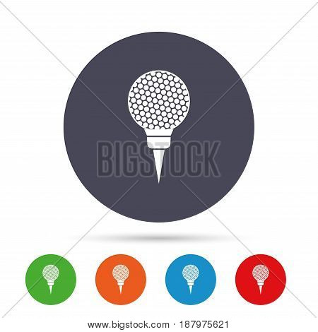 Golf ball on tee sign icon. Sport symbol. Round colourful buttons with flat icons. Vector