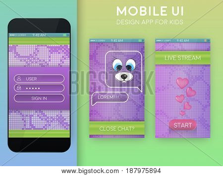 Mobile UI. Messenger design template. In purple and green colors. Material design. Live stream video. App elements.