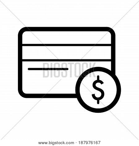 Credit card vector icon. Black and white card dollar illustration. Outline linear icon. eps 10