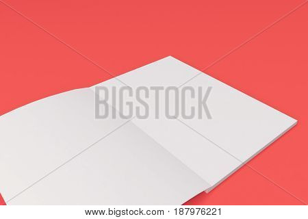 Blank White Open Brochure Mock-up On Red Background