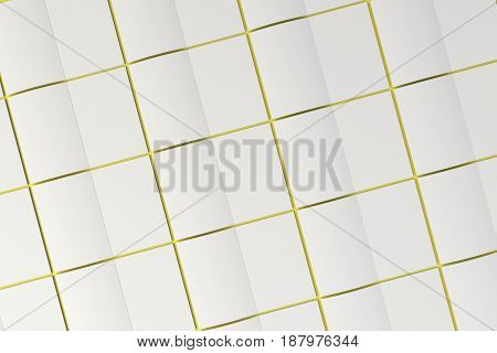 Grid Of Blank White Opened Brochure Mock-up On Yellow Background