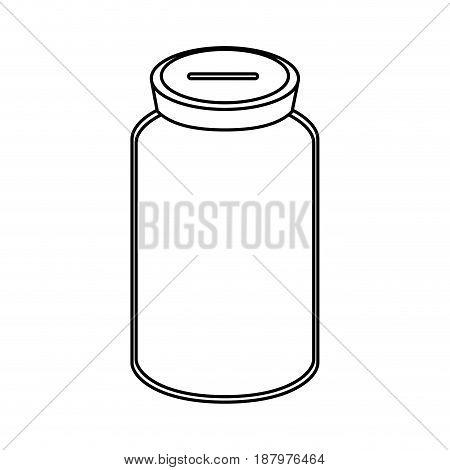 line glass bottle to save cash money, vector illustration