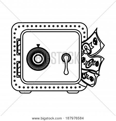 line metal strong box with bills in the door, vector illustration