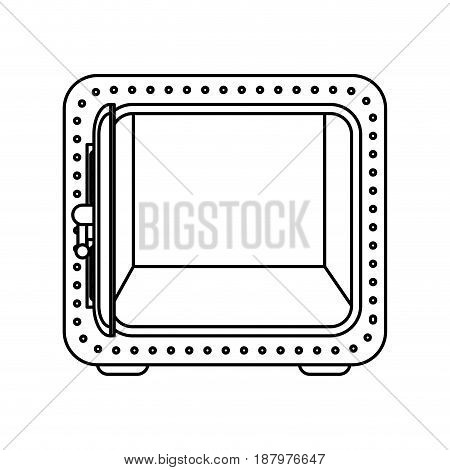 line silver metal strong box open, vector illustration