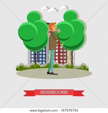 Vector illustration of man using magic mushrooms or psychedelic mushrooms. Drug addiction concept flat style design element.