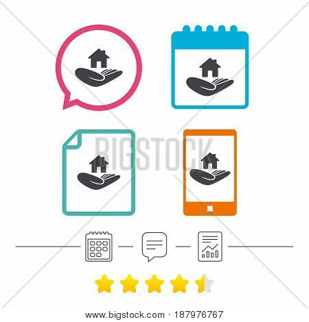 House insurance sign. Hand holds home symbol. Insurance of property. Calendar, chat speech bubble and report linear icons. Star vote ranking. Vector
