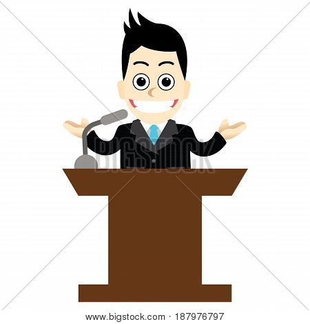 Businessman with easy.Businessman talking on the stage.