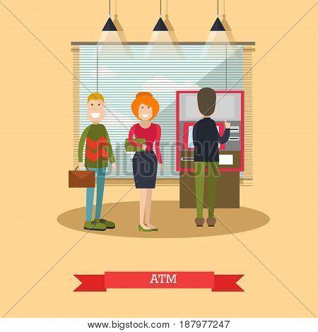 Vector illustration of people waiting in line for cash money. ATM, cash dispenser concept design element in flat style.