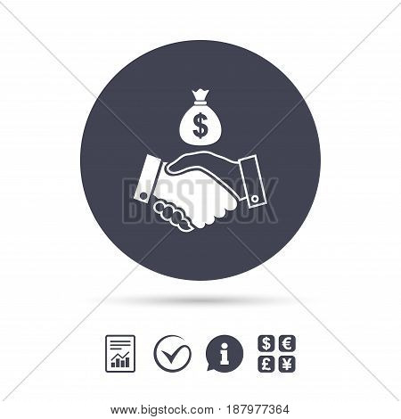 Dollar handshake sign icon. Successful business with money bag symbol. Report document, information and check tick icons. Currency exchange. Vector