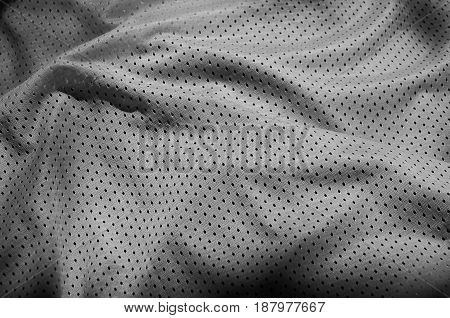 Sport Clothing Fabric Texture Background. Top View Of Grey Polyester Nylon Cloth Textile Surface. Da