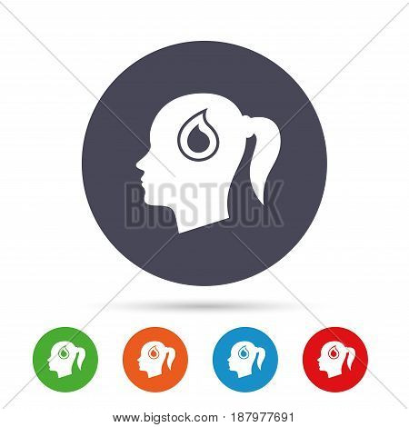 Head with blood drop sign icon. Female woman human head symbol. Round colourful buttons with flat icons. Vector
