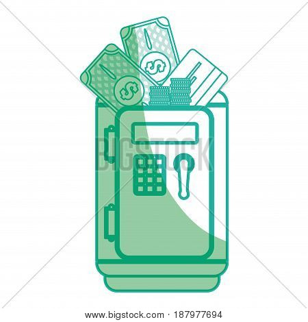 silhouette, metal strong box with bills, coins and credit card in the door, vector illustration
