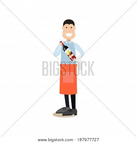 Vector illustration of waiter holding bottle of wine. Cook people concept flat style design element, icon isolated on white background.