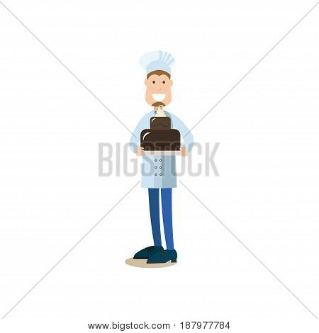 Vector illustration of confectioner holding two tiered chocolate cake. Cook people concept flat style design element, icon isolated on white background.