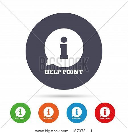 Help point sign icon. Information symbol. Round colourful buttons with flat icons. Vector