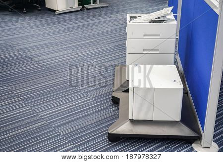 close up printer parts in office for maintenance and repair