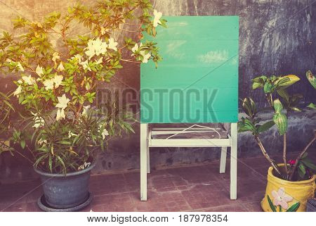 Blank old wood green board placed near the flowerpot with bright sunlight. Template for adding your design or your text. Empty presentation board. Vintage effect tone.