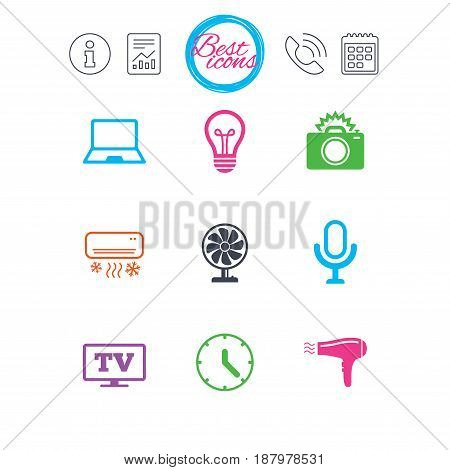 Information, report and calendar signs. Home appliances, device icons. Air conditioning sign. Photo camera, computer and ventilator symbols. Classic simple flat web icons. Vector