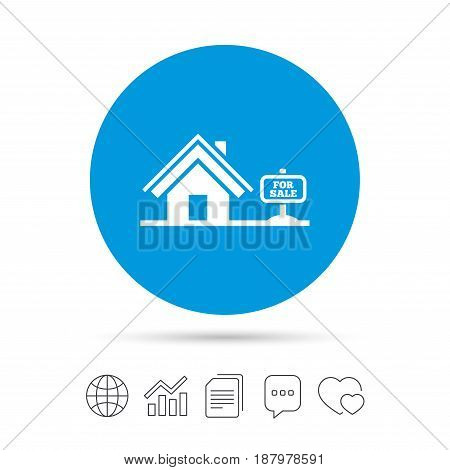 Home sign icon. House for sale. Broker symbol. Copy files, chat speech bubble and chart web icons. Vector