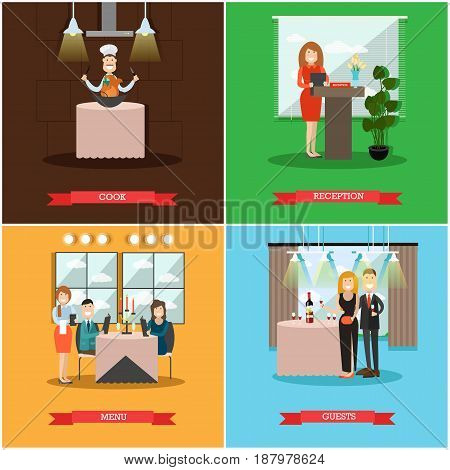 Vector set of restaurant people posters. Cook, Reception, Menu and Guests flat style design elements.